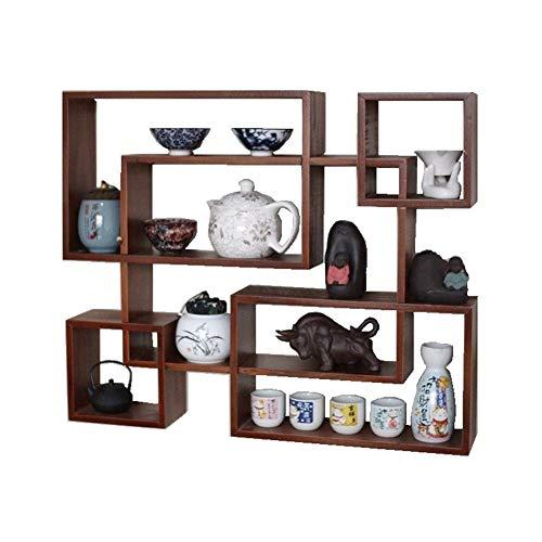 JIE KE Estante multiusos para libros, de madera maciza china, para ahorrar espacio, fácil de instalar, para coleccionables, fotos, marcos y plantas (color: azul)