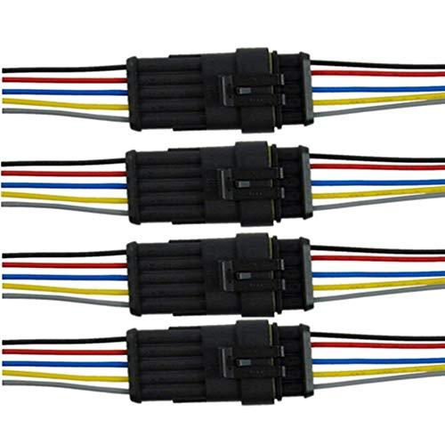 Qiorange 4 TLG 5 Poliger Kabel Steckverbinder Stecker,Wasserdicht Schnellverbinder mit Draht für Motorrad,Roller,Auto,KFZ LKW