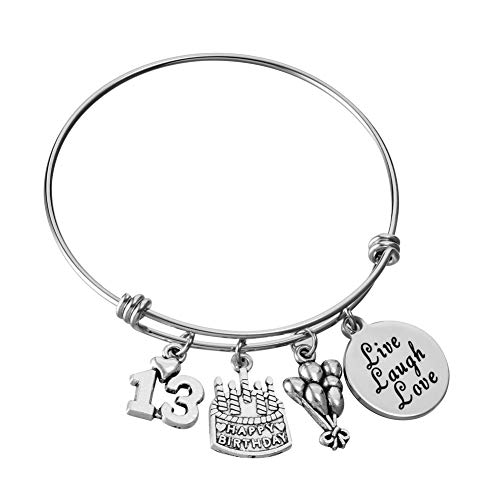 Stainless Steel Expandable Wire Bangle 13th Birthday Gifts Bracelet Live Laugh Love Jewelry for 13 Year Old