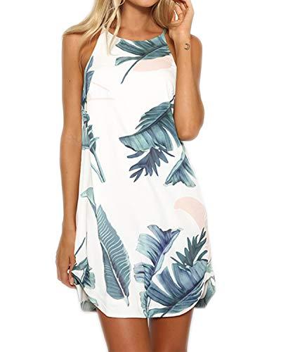 YOINS Strandkleider Damen Sommer Casual Sommerkleid Damen Kurz Strand Schulterfrei Elegant Kleider Ärmellos Minikleider Grün M