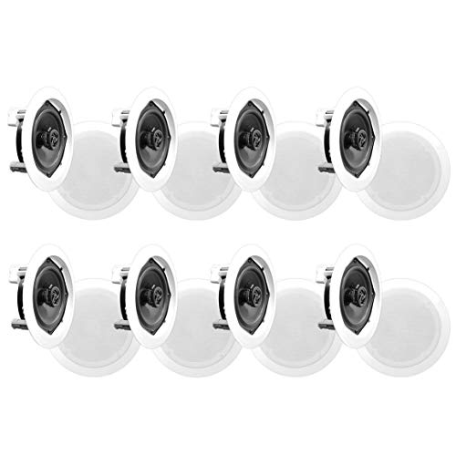 Find Bargain in-Wall/in-Ceiling Dual 5.25-inch Speaker System 2-Way Flush Mount White (8 Speakers)