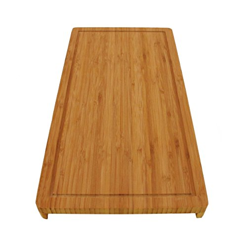 BambooMN Brand Bamboo Griddle CoverCutting Board for Viking Cooktops Vertical Cut with Raised Design Small 1025x198x150