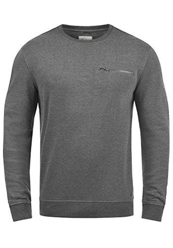 Blend Jesper Herren Sweatshirt Pullover Pulli Mit Rundhalsausschnitt Und Brusttasche, Größe:L, Farbe:Pewter Mix (70817)