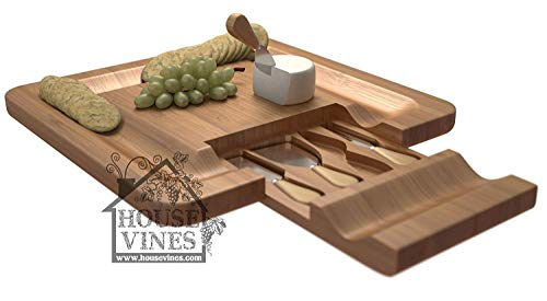 Deluxe Bamboo Cheese and Cracker Serving Tray with Hide-Away 4 Piece Utensils Set - Wine and Cheese Party Platter - Wine Gift - By HouseVines