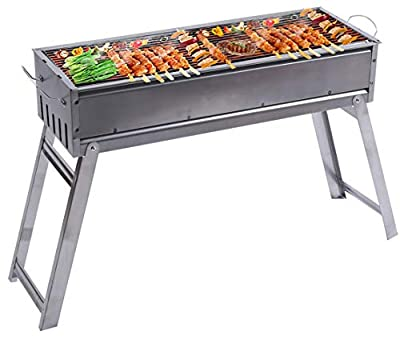 LELEKEY Portable Charcoal Grill, Foldable Stainless Steel BBQ Grill, Flat Top Hibachi Grill for Indoor Patio Backyard Outdoor Barbecue Kabab Griller Cooking Camping Picnics,Perfect for 6-8 People