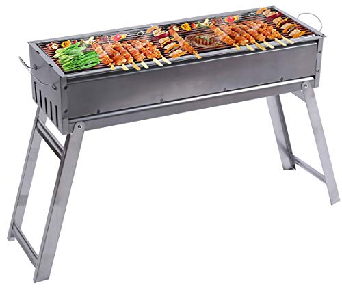 LELEKEY Portable Charcoal Grill, Foldable Stainless Steel BBQ Grill, Flat Top Hibachi Grill for...