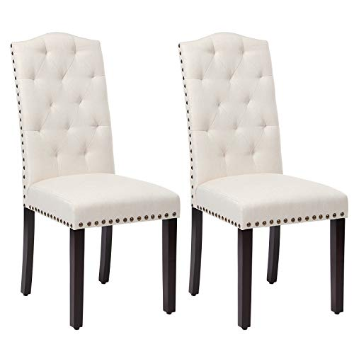 SONGMICS Set of 2 Dining Chairs with High Back, Tufted Design, Solid Wood Legs, Upholstered Stools,...