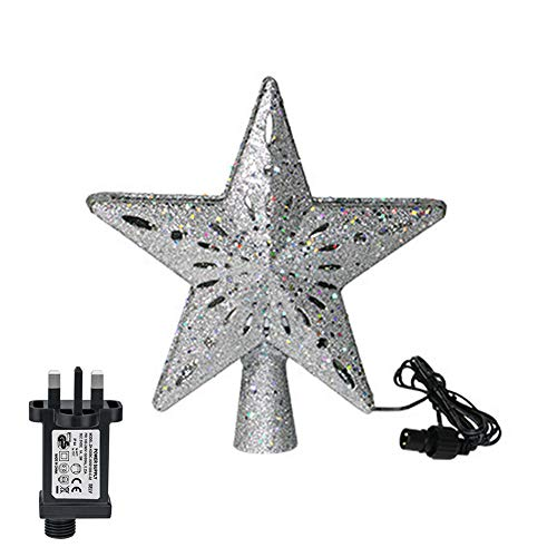 Proglam 3D Hollow Gold/Sliver Star Topper Projection Light with Built-in Rotating LED Ball for Christmas Tree Decoration