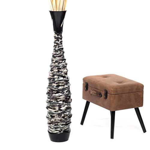 Leewadee jarrón Grande para el Suelo – Florero Alto y Hecho a Mano de Madera exótica, Recipiente de pie para Ramas Decorativas, 112 cm, Negro