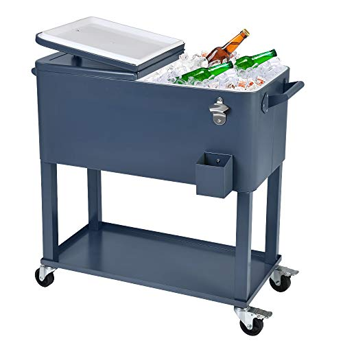 UPHA 80 Quart Rolling Outdoor Cooler, Patio Cooler Cart on Wheels, Portable Drink Beverage Bar for Patio Pool Party, Ice Chest with Shelf and Bottle Opener, IronGrey