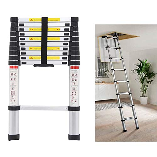Telescoping Loft Ladder Extension Ladders 10.5ft 330lbs Max Load for Attic Loft RV Roof Home Office, Aluminum Light Weight Easy to Carry or Storage Stepladder Telescopic