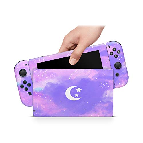 ZOOMHITSKINS Pastel Lunar Clouds Cute Violet Lavender Starry Night Lovely Kawaii Anime Sky Sparkling High Quality 3M Vinyl Decal Sticker Wrap, Nintendo Switch Compatible, Made in the USA