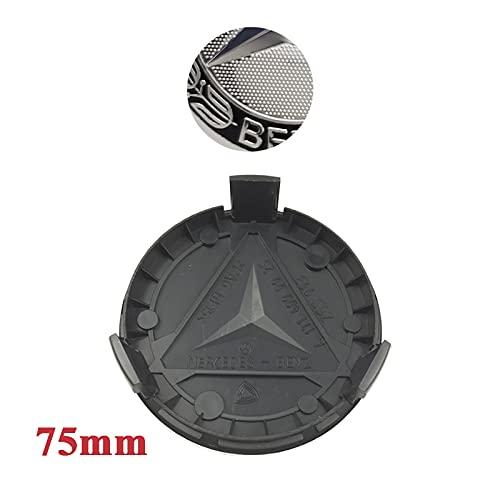 MTREW 20 piezas de 75 mm para el centro de la rueda del coche, compatibles con Mercedes Benz W205 W204 W203 W212 W211 W213 W210 W164 A C E B Class (color: 75 mm negro)
