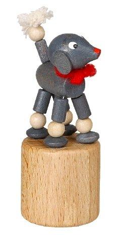 Rudolphs schatkist wiebeldier pudel grijs wiebelfiguur zeep speelgoed hoogte 7 cm Ertsgebergte NIEUW