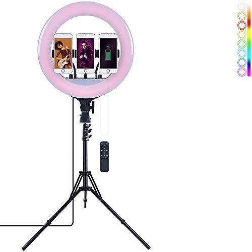 Anillo de luz con trípode de 14 pulgadas regulable 6500K Selfie anillo de luz con control remoto, soporte para el teléfono celular y 3 colores y 10 niveles de brillo para Youtube, maquillaje, Tiktok
