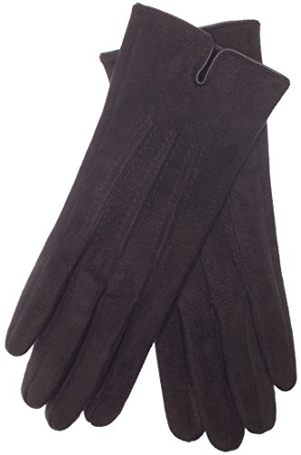 EEM VEGAN Damen Handschuhe ARIANE in Wildleder-Optik gefüttert mit kuschelig weichem Teddyfleece Schwarz One size