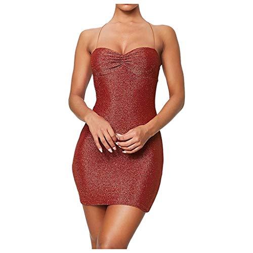 QingJiu 2020 Damenmode Neue Glitter Sling Bandeau Rückenfreies Bandage Abendkleid Einfarbig Schlankes Minikleid