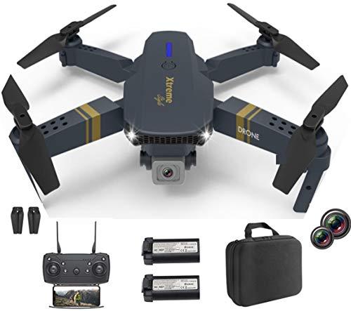 XTREME STYLE FPV Mini Drone con doppia fotocamera 4K UHD 50x D-zoom 2 batterie per 30 minuti di volo, quadricottero RC pieghevole ed elegante per bambini e principianti. Molte modalità di volo