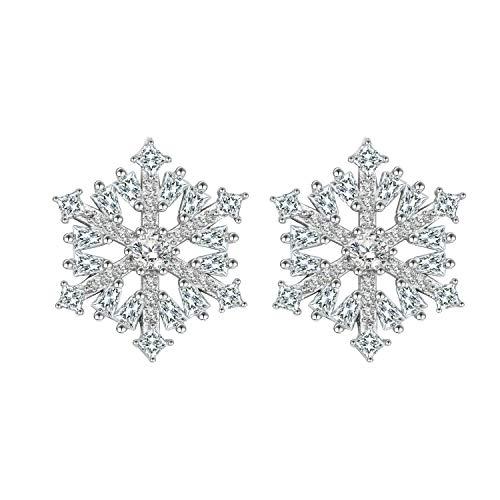 BiBeary Donna Argento Sterling 925 Zirconia CZ elegante Fiocco di neve Natale Pierced Studs Orecchini chiaro