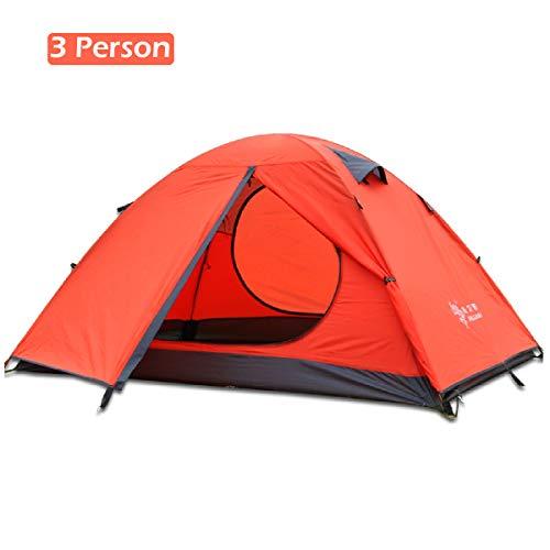 TRIWONDER Tente de Camping 2-3 Personnes 3 Saisons Tente Dôme Double Couche Imperméable pour Camping Randonnée Bivouac (Orange, 2 Personnes)