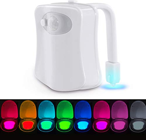 Toilet Bowl Night Light, Motion Detection - Advanced 16-Color Changing Led, Toilet Light with 2 Aromatherapy Tablets Fits Any Toilet, Perfect for Kids and Adults