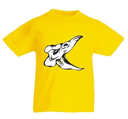 Camiseta con texto en alemán 'Dinosaurier cráneo Vogelschädel mit Maul offen Skelett Rocker Motorradclub Gothic Biker Skull Emo Old School' para hombres y mujeres - niños - 104- 5XL amarillo Mujer Gr.: X-Small