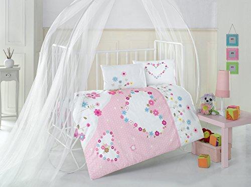 Pretty cœurs Rose Lit Bébé Housse de couette de lit, 100% coton doux et Sain Parure de lit 4 pièces