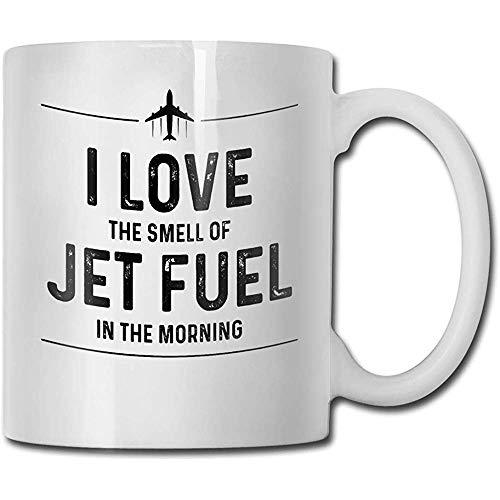 Me encanta el olor del combustible de avión en la mañana taza divertida - 11 de cerámica taza de café - Mejor Idea regalo para Navidad