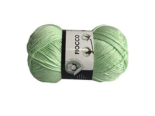 filati italiani Cotone Fiocco. 100% Cotton, 50g (125m) per Uncinetto e Maglieria (Verde Acqua - 7618)