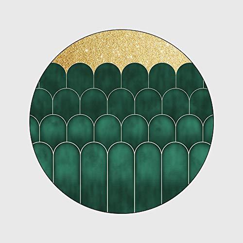 WIVION Runder Teppich in Böhmischer Art Wohnzimmer Schlafzimmer Teppiche Yogamatte Wasserabsorbierender Teppich Sitz/Compurter Kissen,160CM