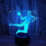 Lámpara multicolor de balonmano 3d, visión acrílica, estéreo, táctil, mesa Usb, lámpara led, novedad, decoración de la habitación de los niños, luz nocturna 3D