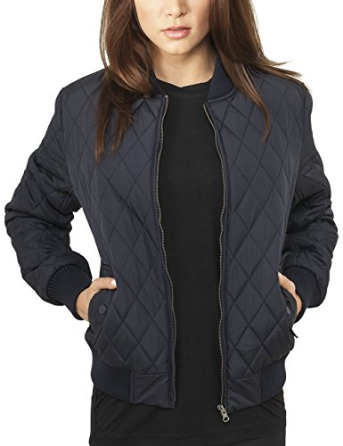 Urban Classics Damen Ladies Diamond Quilt Nylon Jacket Jacke, Blau (navy 155), 36 (Herstellergröße: S)