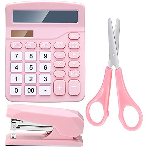 Kit de 3 Suministros de Oficina de Rosa Accesorios de Escritorio de Rosa Set de Calculadora Grapadora Tijeras Adorno de Oficina para Escritorio de Mujer Organizador para Oficina de Mujer