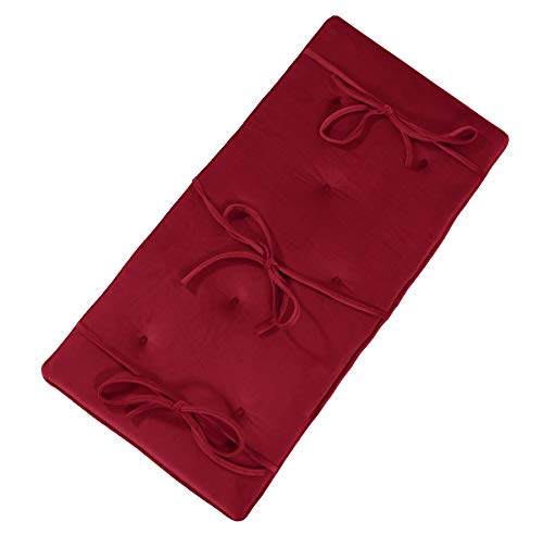 Burgundy Red Velvet Piano Bench Cushion 14' x 30' Tufted Bench Pad with Ties