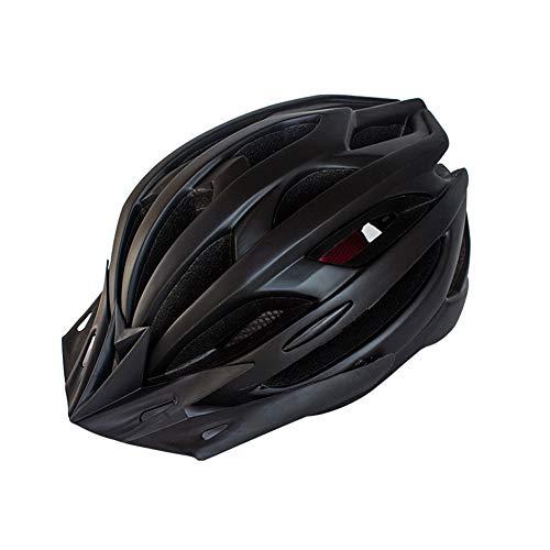Casco de Bicicleta para Adulto Casco Ciclismo Ajustable Protección de Seguridad con Visera Desmontable y Luz LED Casco Bici Ligero Protector Unisex para MTB Carretera (Negro, 54-61 cm)