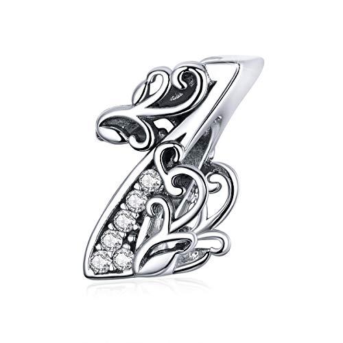 Ciondolo in argento Sterling 925, numero uno, per braccialetti e collane Pandora, per donne e ragazze