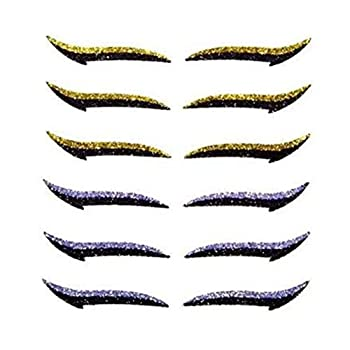 Luxsea 6 Pairs Eyeliner Stickers for Eyes Reusable Adhesive Eyeliner Stickers Makeup Eyeliner Sticker Tattoo Instant Eyeliner Stencils Colored Eyeliners Glitter Eyeliner Easy Quick Application