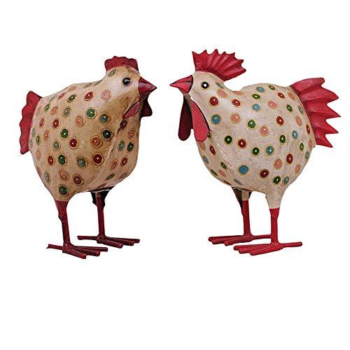 Deko-Huhn Garten-Huhn Garten-Deko Metall bemalt Preis für 2 Stück Hahn und Huhn