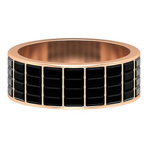 Anillo de diamante negro creado en laboratorio de 2,16 CT, conjunto de canales, anillo de baguette, banda ancha de oro, 14K Oro rosa, Size:EU 54