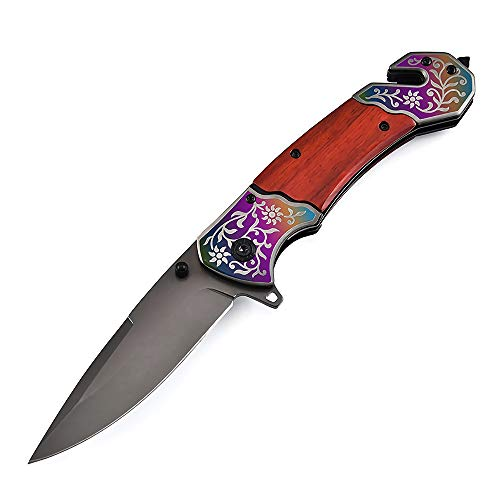 Eil Klappmesser Scharfes Outdoor-Messer & Taschenmesser mit Holzgriff I Einhandmesser-Mit Glasbrecher-Funktion