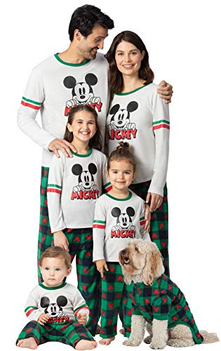 PajamaGram Holiday Mickey Mouse Pajamas, Red & Green, 0-3 Months