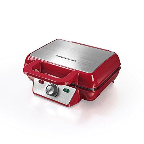 GOURMETmaxx 07841Gofrera para gruesos waffles belgas | Parahacer 2 gofres al mismo tiempo | Antiadherente | Gofrera de hierro, regulable | 1000 V, roja