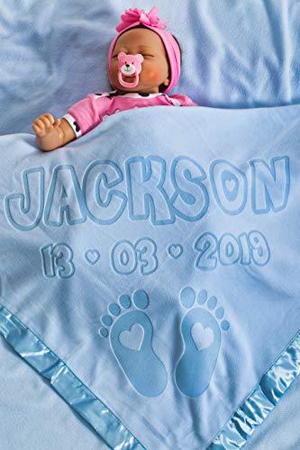 Manta personalizada para bebé con diseño de pies, tamaño 88 x 88 cm, borde satinado (pie) azul azul Talla:Two Lines Text