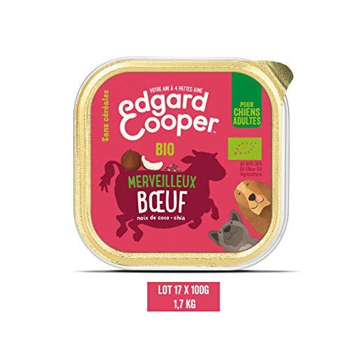 Edgard & Cooper Paté en Boite pour Chien Adulte Biologique Nourriture Naturelle sans Gluten, Lot de 17 Barquettes de 100g, Alimentation Saine complète et équilibrée (Boeuf Bio)