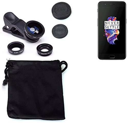3in1 OnePlus 5 Lenti FishEye (180°) Grandangolo (0.67x) Macro Obiettivi Smartphone Cellulare Obiettivi Smartphone- K-S-Trade