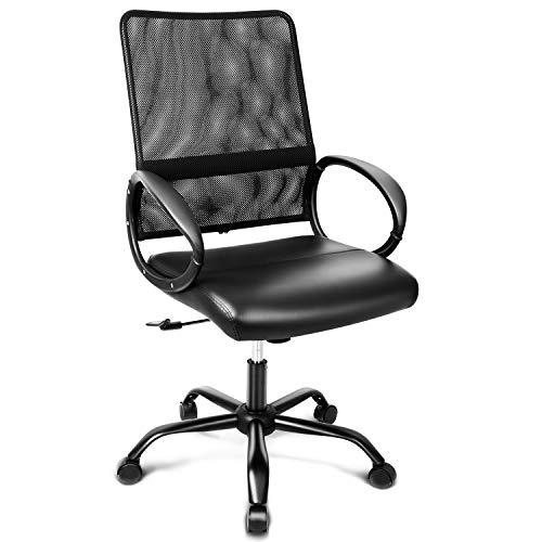 INTEY Bürostuhl, atmungsaktiver Schreibtischstuhl, Höhenverstellung und Wippfunktion, Office Chair aus Leder und Mesh