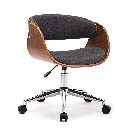Mingone Bürostuhl Massivholz Kunst Computer Stuhl europäischen Stuhl Büro Schreibtisch Stühle Freizeit Zurück Drehstuhl Kopfstütze und Armlehne, Bis 150kg (Grau)