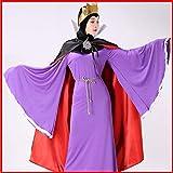 LJYNB Halloween Adultos Blancanieves y los siete enanitos Mujer Disfraz de reina mala Vestido de madrastra blanca como la nieve con capa Vestido M con capa