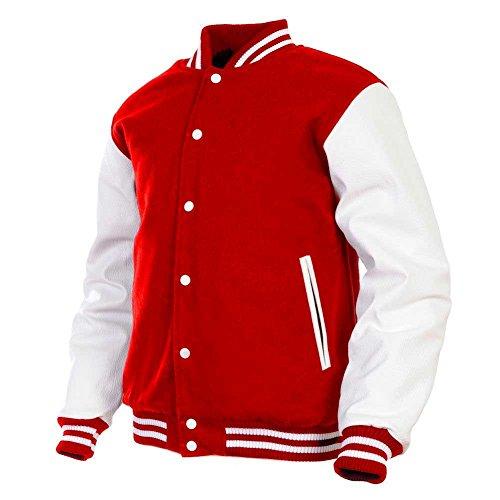 Men's Varsity Jacket Genuine Leather Sleeve and Wool Blend Letterman Boys College Varsity Jackets (Red(AR-2), Large)