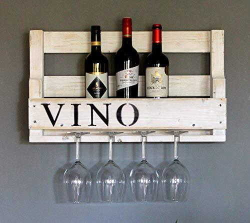 Dekorie Hochwertiges Weinregal aus Holz für die Wand - mit Gläserhalter und VINO Schriftzug - Weiß - fertig montiert - Regal für Weinflaschen und Weingläser